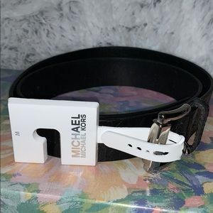 Michael Kors belt black ruby silver buckle nwot